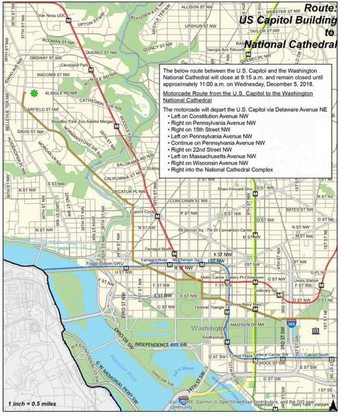 Road closures associated with the motorcade route from the US Capitol to the Washington National Cathedral