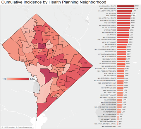 Cumulative Incidence by Health Planning Neighborhood