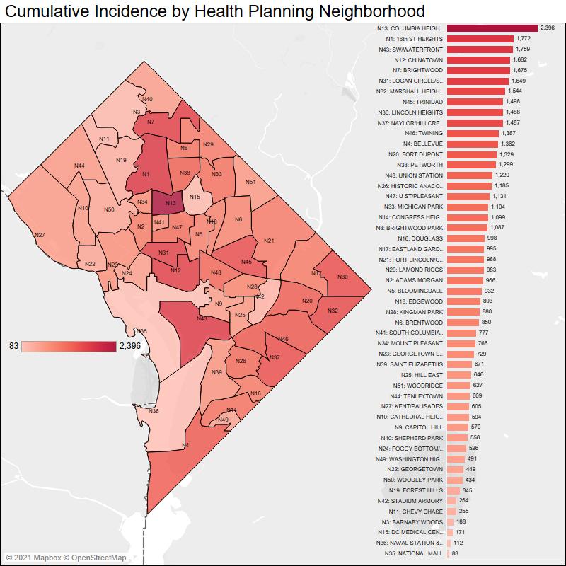 Cumulative Incidence by Health Planning Neighborhood