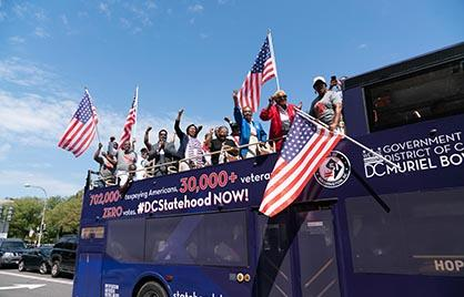 Mayor Bowser and DC Veterans on the Statehood Bus