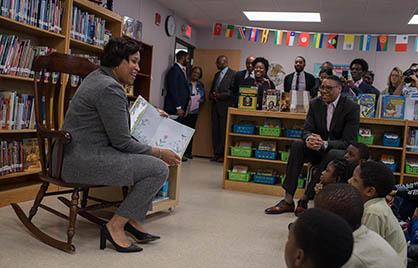 Mayor Bowser reads to students at Houston Elementary